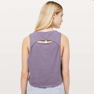 Lululemon | Cut Back Crop Graphite Purple Tank Top